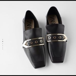 NWT ZARA black square toe buckle leather loafers 9